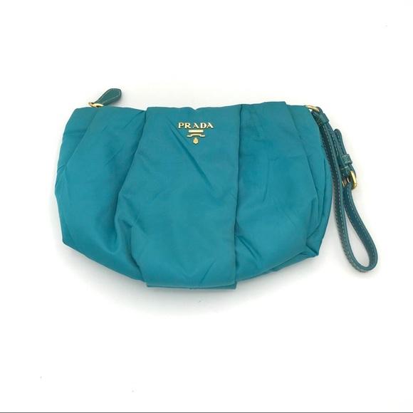 Prada Bags   Turquoise Teal Blue Nylon Wristlet Clutch   Poshmark 0bfecc096a